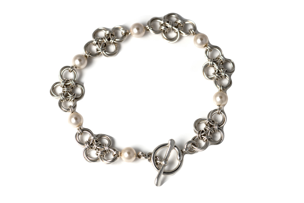 Cream-Swarovski-pearl-sterling-silver-chinese-knot-chainmaille-bracelet-hui-designs