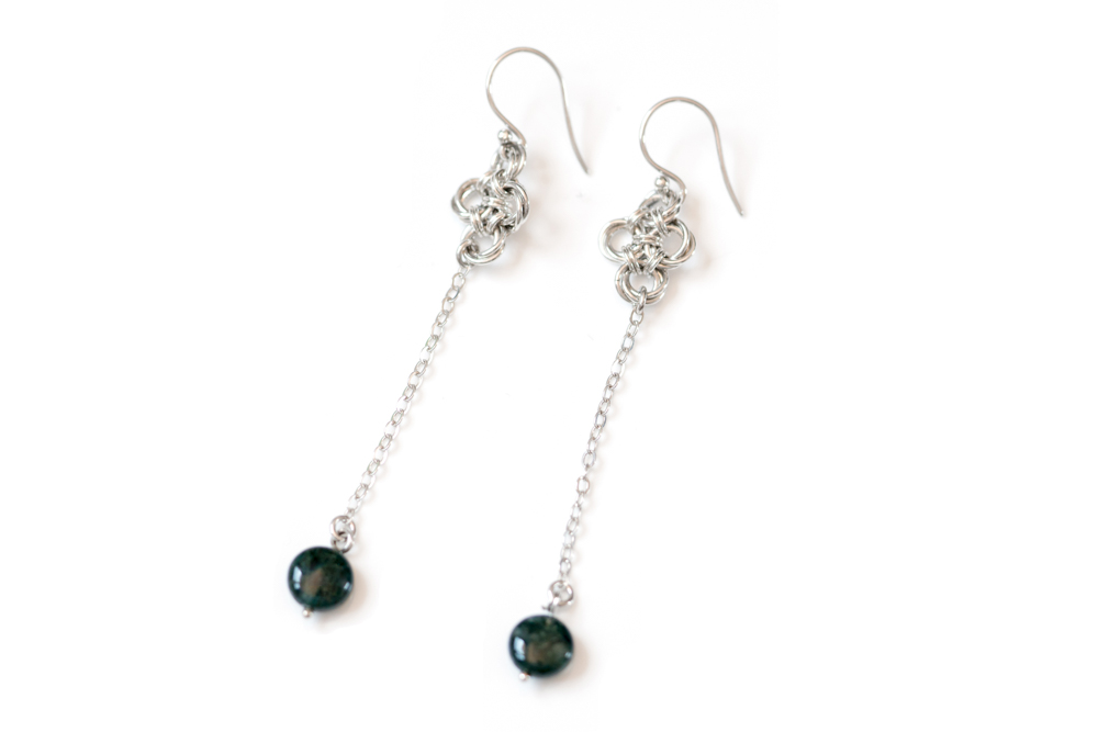 Moss-Agate-pendulum-drop-sterling-silver-chinese-knot-chainmaille-earrings-hui-designs