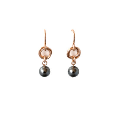Grey-Pearl-Rose-Gold-Filled-Link-&-Chain-Chainmaille-Drop-Earrings-Hui-Designs