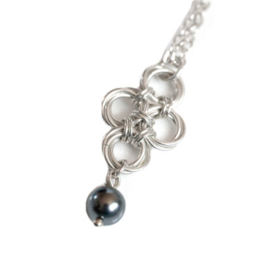 Dark-Grey-Pearl-teardrop-sterling-silver-chinese-knot-chainmaille-necklace-hui-designs