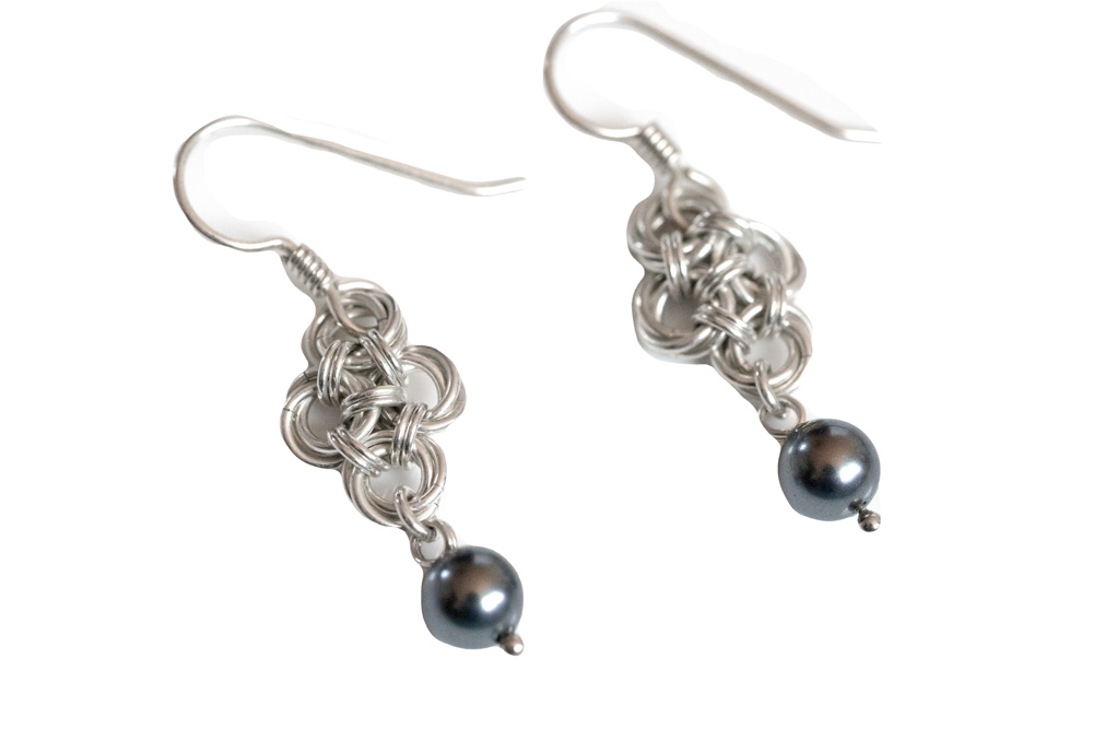 Dark-Grey-pearl-teardrop-sterling-silver-chinese-knot-chainmaille-earrings-hui-designs