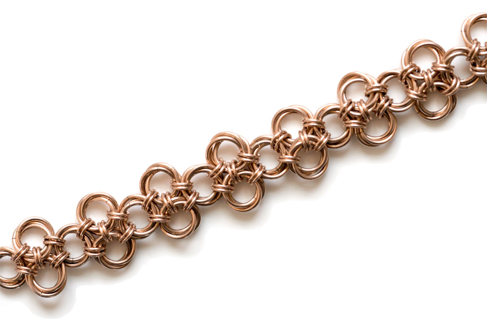 Endless 14kt rose gold filled chinese knot chainmail bracelet