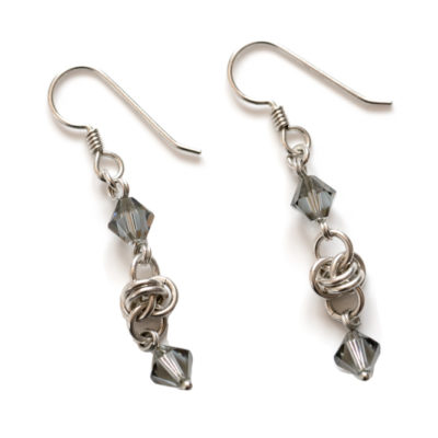 Grey-Crystal-Barrel-Sterling Silver-Chainmaille-Earrings-Hui-Designs