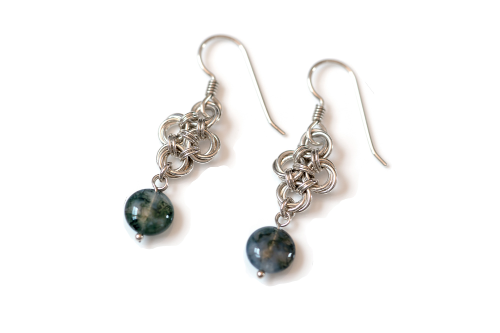 Moss-Agate-teardrop-sterling-silver-chinese-knot-chainmaille-earrings-hui-designs