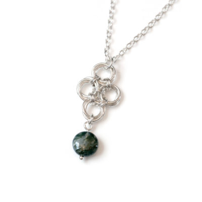 Moss-Agate-teardrop-sterling-silver-chinese-knot-chainmaille-necklace-hui-designs