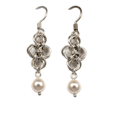 Cream-Pearl-Teardrop-Sterling-Silver-Chinese-Knot-Chainmaille-Earrings-Hui-Designs