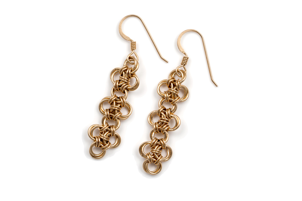 Endless-14kt-yellow-gold-filled-Chinese-Knot-Chainmaille-Earrings-Hui-Designs