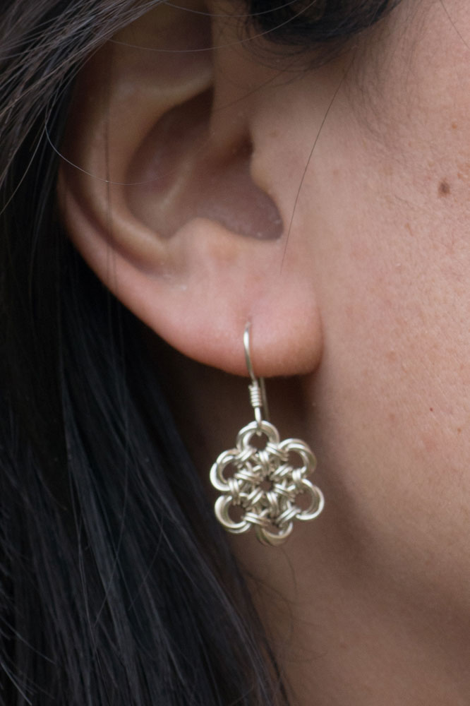 Endless-Sterling-Silver-Flower-Chinese-Knot-Chainmaille-Earrings-Hui-Designs-1