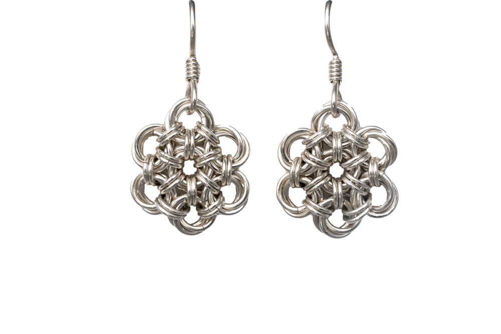 Endless-Sterling-Silver-Flower-Chinese-Knot-Chainmaille-Earrings-Hui-Designs