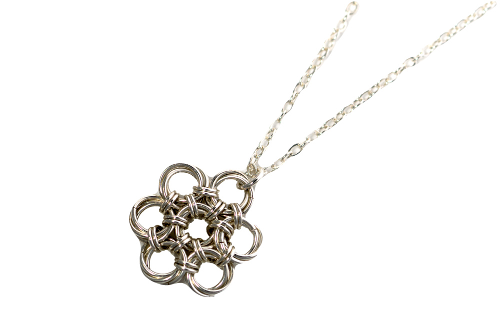 Endless-Sterling-Silver-Flower-Chinese-Knot-Chainmaille-Necklace-Hui-Designs