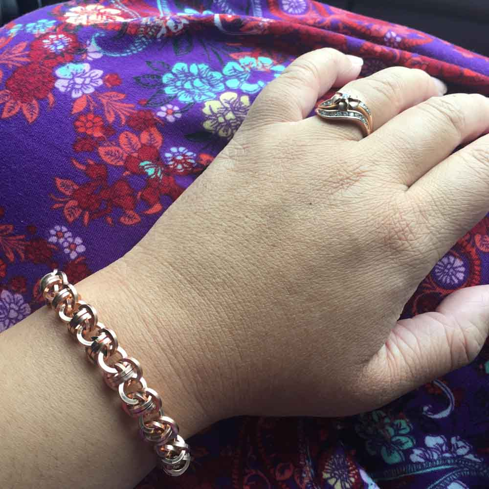 Bold-Square-Barrel-14kt-rose-gold-filled-Chainmaille-bracelet-Hui-Designs-hand
