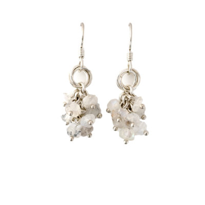 Moonstone-cluster-Power-Knot-sterling-silver-chainmaille-earrings