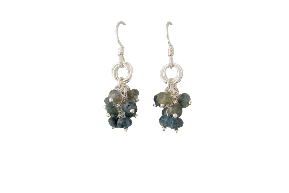 Moss-aquamarine-cluster-Power-Knot-sterling-silver-chainmaille-earrings