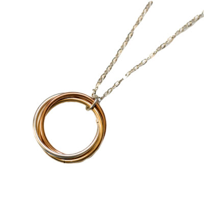 XL-Tri-Colored-Power-Knot-Sterling-Silver-14kt-Yellow-Rose-Gold-Filled-Chainmaille-Necklace