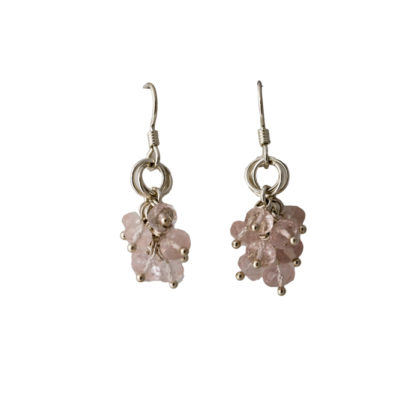 rose-quartz-cluster-Power-Knot-sterling-silver-chainmaille-earrings