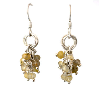 golden-rutilated-quartz-cluster-power-knot-sterling-silver-chainmaille-earrings-Hui-Designs