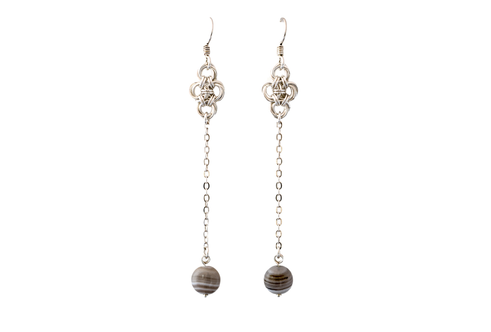 Botswana-Agate-Pendulum-drop-sterling-silver-Chinese-Knot-Earrings-Hui-Designs
