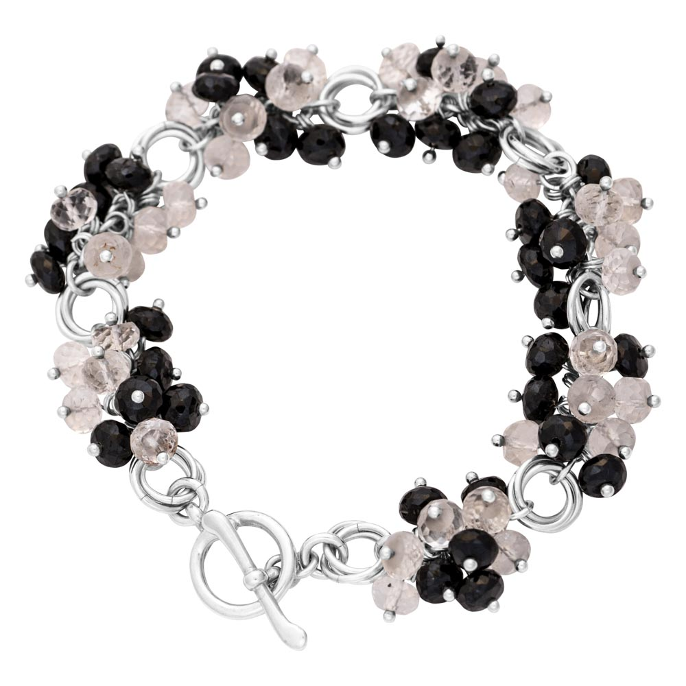 black-spinel-quartz-cluster-Power-Knot-sterling-silver-chainmaille-bracelet-Hui-Designs