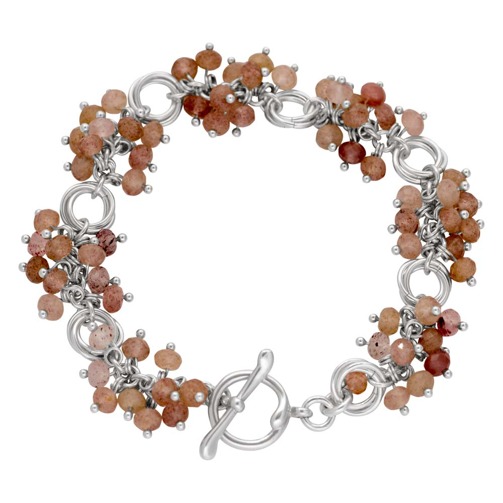 strawberry-quartz-cluster-Power-Knot-sterling-silver-chainmaille-bracelet-Hui-Designs